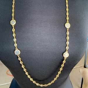 Long Gold Plated Necklace with Silver Medallions